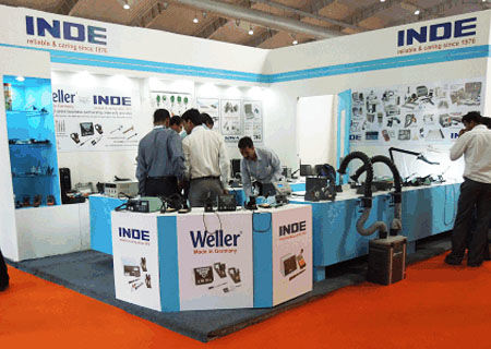 INDE Enterprises Displaying Fume Extraction System at Electronica India Fair
