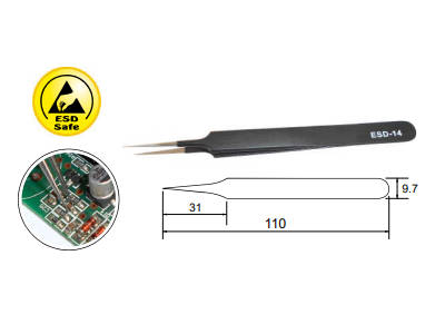 ESD Safe Straight Precision Tweezer ESD-14